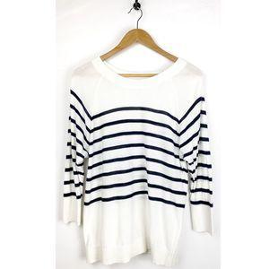 Loft White Black Striped Women's Shirt Size Medium